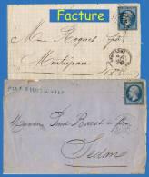 N° 22 NAPOLÉON SECOND EMPIRE 1862 - OBLITÉRÉS B / TB SUR LETTRES DE PARIS PLACE DE LA BOURSE + GC 105 : ANGOULÊME - - Postmark Collection (Covers)