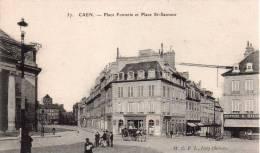Cpa 14 Caen , Place Fontette Et Place Saint Sauveur,debut Rue Ecuyere - Caen