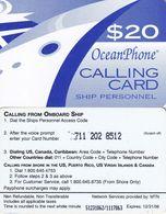 PUERTO RICO - Oceanphone By MTN Satelite Prepaid Card $20, Exp.date 31/12/06, Used
