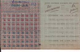 Tickets De Rationnements J2 A Occupation Collaboration Vichy WWII 39-45 1939-1945 Ww2 2.wk - 1939-45