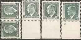 Cecoslovacchia 1937 Nuovo** - Yv.324x2 + 324 Con Appendìcex2 +324 Con N° Di Tavola - Cecoslovacchia