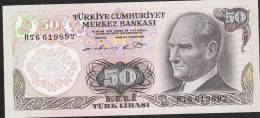 TURQUIE TURKEY P188   50 LIRA    1976    Prefix H   UNC. - Turkije