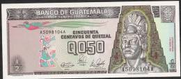 GUATEMALA P72a  1/2 QUETZAL  1989  #A    UNC. - Guatemala