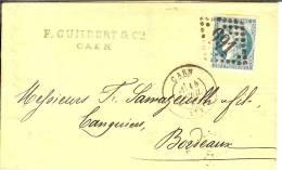 Lettre De Caen à Bordeaux - Postmark Collection (Covers)