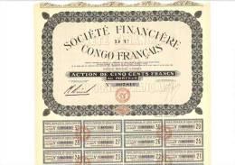 Société Financière Du Congo Français - Action De 500 F - Banque & Assurance