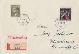 Böhmen & Mähren R-Brief Mif Minr.102,132 Budweis 18.10.43 - Besetzungen 1938-45