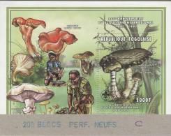 """Togo 1997 Y&T BF 316F. Scoutisme Et Champignons. Bloc Dentelé Perforé """"annulé"""" Collé Sur Carton Par L´imprimeur Suisse. - Scouting"""