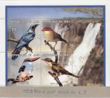 """Mali 1996 Y&T 836/9. Oiseaux. Bloc Dentelé Perforé """"annulé"""" Collé Sur Carton Par L´imprimeur Suisse Impressor. - Cuckoos & Turacos"""