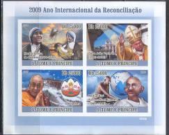 A0233 Pope Gandhi Dalai Lama 2009 St.Tome Et Principe Collective Sheet MNH ** Imperf Imp - Mother Teresa
