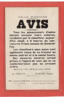 AMIENS(80) / GUERRE 14/18 / AFFICHE DE PROPAGANDE DE LA VILLE D'AMIENS/ AVIS Tous Les Possesseurs D'autos Doivent Etc... - Amiens
