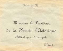 Ced , Enveloppe , Mr Le Président De La Société Historique , Bibliothéque Municipale , Niort , Vierge - Autres