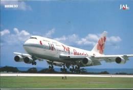 Japan Air Lines  Boeing 747 In Special Paint  Has Been Written On Back JAL 2000's  Card - Japan