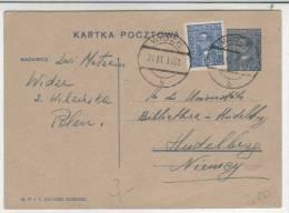 POLAND - KARTKA POCZTOWA  1931 WIDZE - HEIDELBERG - Stamped Stationery