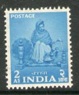 India 1955 2nd Definitive Series Five Year Plan-2As Charkha Sc 258 1v MNH Inde Indien - Textile