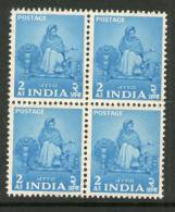 India 1955 2nd Definitive Series Five Year Plan-2As Charkha Sc 258 Blk/4 MNH Inde Indien - Textile