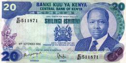 Banknote Kenya 20 Shillings 14 September 1986  VF Cond - Kenya