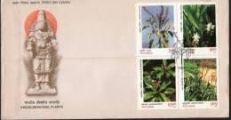 India 1997 Medicinal Plants Flowers Se-Tenant Blk Sc 1643a FDC Inde Indien - Medicine