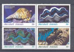 Mzi035s WWF SCHELPEN CLAM SHELLS COCONUT CRAB MARINE LIFE MARSHALL ISLANDS 1986 PF/MNH# - W.W.F.
