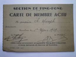 SAINT-OMER  :  Section De  PING-PONG  -  Carte De Membre Actif  1939 - Tennis De Table