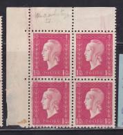 "FRANCE N° 691 1F50 GROSEILLE MARIANNE DE DULAC ""MACULATURES"" BLOC DE 4  NEUF SANS CHARNIERE - Curiosities: 1945-49 Covers & Documents"