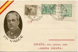 1937, 11 De Junio.Tarjeta Con Local De Badajoz Con Imagen Del Coronel Yague Editada Por Juan Marra - 1931-50 Storia Postale