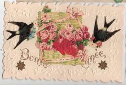 CPA Bonne Année Fleurs Oiseaux - Año Nuevo