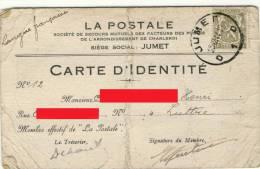Carte D´identité - LA POSTALE - Société De Secours Mutuels Des Facteurs Des Postes - Charleroi - 1945 -     (2628) - Cartes