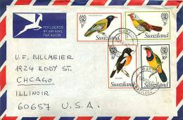 1977  Air Mail Letter To USA  Birds - Swaziland (1968-...)