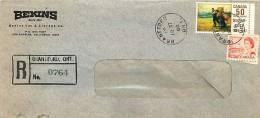 1969  Registered Letter To USA  Centennial 6 ¢ Orangr And 50 ¢ Suzor-Coté  Sc 459, 492 - 1952-.... Reign Of Elizabeth II