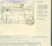 Relevé D'abonnement Et Taxe Des Communications Telephonique , Reçu Oblitéré Paris 106 En Juin  1939  Ab5425 - Telegraaf-en Telefoonzegels