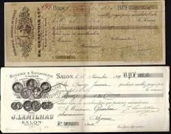 BEAU LOT 6 LETTRES DE CHANGE ANCIENNES + 1 FACTURE-  TAMPONS FISCAUX AU VERSO-  1976- 77- 89 95- VOIR SCANS - Bills Of Exchange
