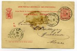 CP ENTIER LUXEMBOURG VILLE Pour MULHAUSEN ELSASS / 22 Oct 1886/ Cahet Arrivée Alsace Lorraine - Andere