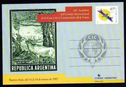 Conservación De Fauna - Caza Mayor - Ciervo Rojo - Sello Postal  - 1997 - Argentina - Entero Postal - POSTAL STATIONERY - Sin Clasificación