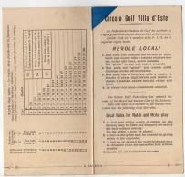 CIRCOLO GOLF VILLA D ESTE  ITALIE  -     CARTON DE POINTS, REGLES LOCALES   - A VOIR - Autres