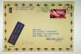 Italy: 1956, Volo Speciale, Visita Del Presidente Della Rep. In USA + Canada, Nice Cancels, FIAT Cover - 6. 1946-.. Repubblica