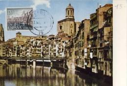 CARTE MAXIMUM  1964 ESPAGNE # GERONE # RIO OÑAR # CATALOGNE # ONYAR # CATHEDRALE SANTA MARIA - Maximum Cards