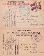 1914 + 1916 - 2 CARTES POSTALES En FM D´un MAL DES LOGIS CHEF Au 10° RA Puis Au 85° RA - Marcophilie (Lettres)