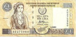 CYPRUS 1 LIRA -POUND BEIGE WOMAN FRONT LANDSCAPE DATED 01-02-2001 P60c VF+ READ DESCRIPTION !! - Cyprus