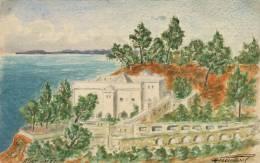 Alger Carte Peinte A La Main En 1926 Faucherel Timbre Semeuse 30c Algerie - Algiers