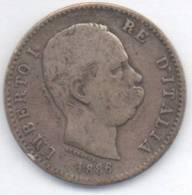 ITALIA 1 LIRA UMBERTO I  1886 AG - 1861-1946 : Regno