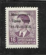 OCCUPAZIONE ITALIANA ITALY ITALIA MONTENEGRO 1941 SOPRASTAMPATO OVERPRINTED  16 D MNH - Montenegro