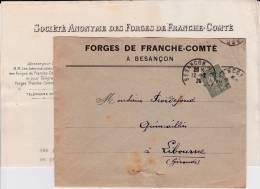 DOUBS - 1920 - ENVELOPPE Des FORGES De FRANCHE-COMTE à BESANCON Avec TIMBRE SEMEUSE PERFORE F.C - France