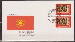 Macedonia, 1992, Sculpture, Flag, Cover, FDC - Beeldhouwkunst