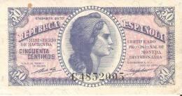 BILLETE DE ESPAÑA DE 50 CTS DEL AÑO 1937  MBC LETRA C (RARO Y DIFÍCIL) - [ 2] 1931-1936 : República