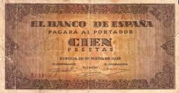 BILLETE DE ESPAÑA DE 100 PTAS 20/05/1938 SERIE A (BANK NOTE) - 100 Pesetas