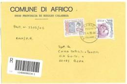 AFRICO   89030  - REGGIO CALABRIA - ANNO 2005 - R   -TEMATICA COMUNI D´ITALIA - STORIA POSTALE - Affrancature Meccaniche Rosse (EMA)