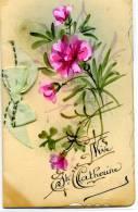 Belle Carte Double Peinte à La Main Avec Un Poème à L´intérieur VIVE SAINTE CATHERINE - - Prénoms