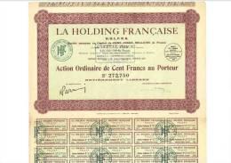 La Holding Francaise - Action De 100 Francs 28 Juillet 1928 - Actions & Titres