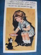 CP ..COMIQUE SERIE..LONDON..PAS POUR VOUS , POUR MON PETIT CHAT FELIX..FILLETTE QUI DONNE A MANGER A SON CHAT..1925 - Illustratori & Fotografie