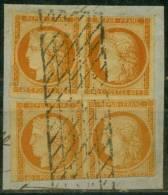 """France 2 Paires Du N° 5 Sur Fragment Oblitérés """"grille Sans Fin"""" - Cote + De 2900 Euros - Prix De Départ 310 Euros - 1849-1850 Cérès"""